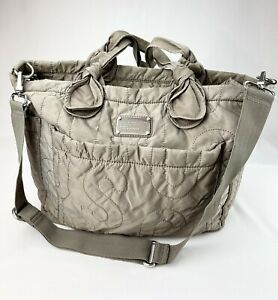 Marc Jacobs Eliza Grey/Beige Quilted Nylon Carryall Diaper Bag