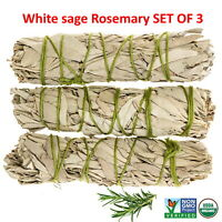 White Sage with Rosemary Smudge Stick SET OF 3 (House Cleansing)Made in USA