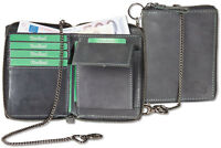 Woodland® Leder Geldbörse mit Reißverschluss und Metall-Kette in Anthrazit