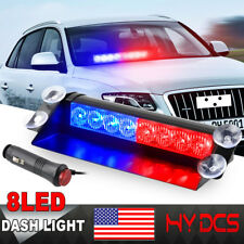 8 LED Car Truck Dash Strobe Flash Light Emergency Police Warning 3 Mode Red Blue