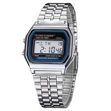 Vintage UNISEX Stainless Steel Wrist Watch Digital Alarm Stopwatch * SILVER