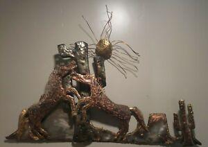 """Fighting Horses Plasma Cut Metal Wall Art 46"""" W x 30"""" T Copper"""