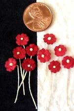 100 Red Handmade Mulberry Paper Flowers crimson Dolls hats Miniatures cards