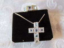 Blue Topaz cross necklace with chain and ring