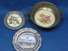 3 Antique German Pewter Plates Porcelain Tiles Inserted( 2 ) Bowl (1) Engraved