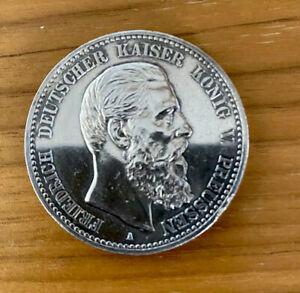 5 Mark Preussen 1888 Friedrich Deutsches Reich J. 99 Polierte Platte