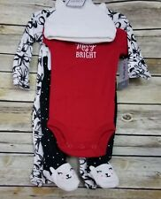 Carters Holiday 1 Piece Sleeper Pants Bear Feet Hat 3 Month Black White Red Xmas