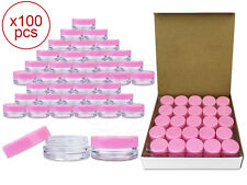 100 Pieces 3 Gram/3ml Plastic Round Clear Sample Jar Containers with Pink Lids
