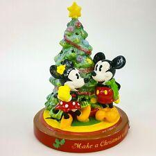 "Disney Mickey Minnie Mouse Make Christmas Wish Lighted Glitter Tree 7"" Figurine"