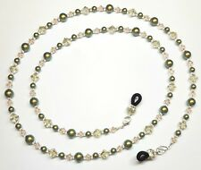 Iridescent Luminous Green Silk Swarovski Crystal Pearl Eyeglass Chain
