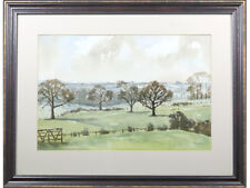 Country Landscape - original signed watercolour painting. Art 20th century