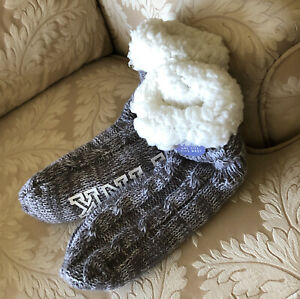 Victoria's Secret PINK Sherpa Lined Cable Knit Slipper Socks GREY Marled - NEW