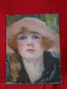 HUILE SUR CARTON .CIRCA 1930.  PORTRAIT JEUNE FEMME AU CHAPEAU ROSE