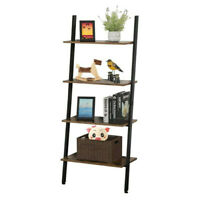 4 Tier Leaning Rack Wall Ladder Book Shelf Bookcase Storage Display Multipurpose