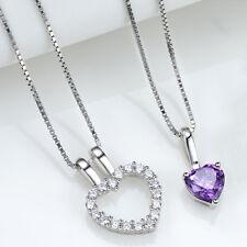 Women's Sterling Silver Purple Crystal Heart Pendant Necklace 18