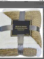 "Napa Super Soft Sherpa Throw Blanket Mocha Chevron 50"" x 60"" Reversible"