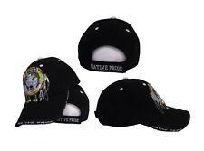 e7f47536a8f Native American Pride Indian Wolf Dreamcatcher Black Cap Hat