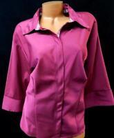 Dcc pink 3/4 sleeve women's plus size button down spandex stretch shirt top 3X