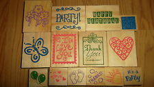 GREENBRIER WOOD & FOAM BACKED RUBBER STAMP LOT ASSORTED STAMPS NEW INK STAMP