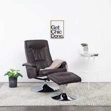 vidaXL Recliner Chair with Footstool Brown Faux Leather Lounge Seat Armchair