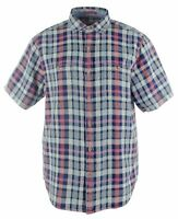 Tommy Bahama Men's SZ XL Sand Swept Plaid Short Sleeve Camp Shirt Throne Blue