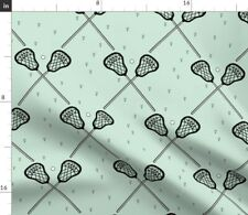 Lacrosse Green And Black Sport Home Decor Mint Fabric Printed by Spoonflower BTY