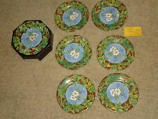 "GIEN  EVASION FRANCE FLOWER SALAD/DESSERT PLATES LOT SET OF 6 - 8-1/2"" W/ BOX"