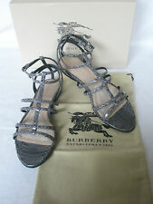 NEW BURBERRY Ladies PRORSUM Grey Snakeskin Leather Sandals Flats SHOES UK 7 40