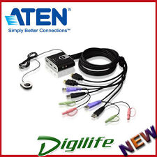 Aten 2 Port 2-Port HDMI USB HD Audio/Video KVM Switch CS692 Keyboard Video Mouse