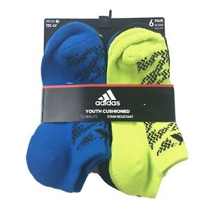 Adidas Boys Blue Green No Show Cushioned Tiger Print Sock Set 6 Pk M 13C-4Y SJ