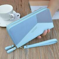 Women Leather Large Capacity Wallet Double Zipper Wallet Phone Pockets Clut X2Q7