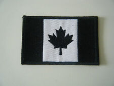 CANADIAN BLACK FLAG PATCH Embroidered Iron On Canada Maple Leaf Emblem Badge NEW