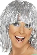 Silver Tinsel Wig Adults Novelty Fancy Dress Costume Accessory