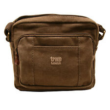 Troop London - Brown Classic Canvas Across Messenger/Body Bag with Leather Trim