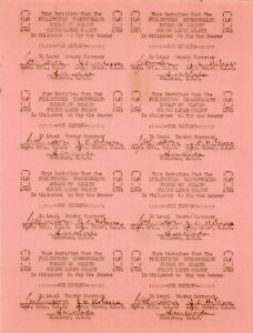 PHILIPPINES Culion Leper Colony Set 8 Notes Remainder Rare Full Sheet S-241r UNC