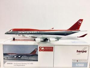 """Herpa Wings Northwest Airlines Boeing 747-400 """"shoes color"""" 1:500 N672US 500838"""