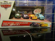 DISNEY/PIXAR CARS. RACE DAY FAN 1:55 SCALE 4 PACK WITH EXCLUSIVE VEHICLE *NEW*