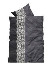 4 teilig Flausch Bettwäsche 135x200 cm Ornamente grau schwarz weiß Thermofleece