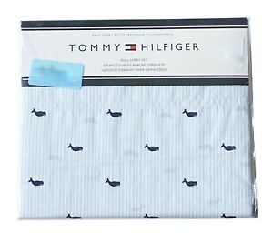 NEW Tommy Hilfiger Nautical Twin Size Sheet Set Whales Light Blue & Navy NWT
