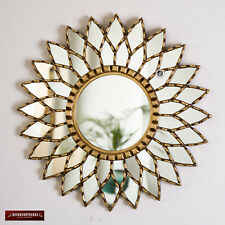 "Gold Round Mandala Mirror 17.7"" from Peru, Ornate Accent Wall Sunflower Mirror"