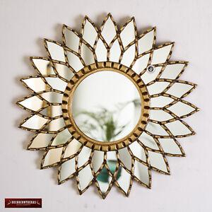 "Gold Round Mandala Mirror 17.7"" from Peru, Ornate Accent Wall Sunflower Mirror"