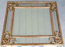 MIROIR a PARCLOSES XIXe 19e Bois Dore Style LOUIS XV Gold Wood Frame Mirror art