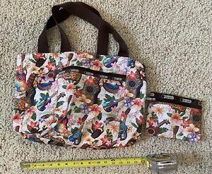 Lesportsac Hawaii Only Reversible Ukulele Shoulder Bag & Cosmetic Bag Rare