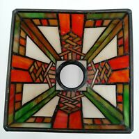 Vintage Lamp Shade Light Quoizel Collectibles Stained Glass Mission Style Orange