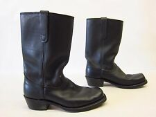 Vintage SEARS USA Union Made Motorcycle Riding Leather Boots Black 9D Square Toe