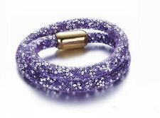 Stardust Slake 3D Bracelet Swarovski Elements Crystal Gold Plated Closure Purple