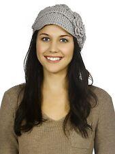 Women's Winter Stretch Warm Knit Visor Peak Beanie Hat Cap with Crochet Flower