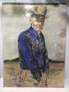 Chalk Drawing Cowboy Man Large Portrait on Art Heavyweight Drawing Pad Wirebound