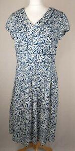 Seasalt Cornwall Blue & White Floral Villa Garden Dress UK 14 EU 42 - 100% Cotto