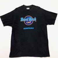 Vintage 80s Hard Rock Cafe Honolulu T-Shirt Single Stitch Black Neon • Large